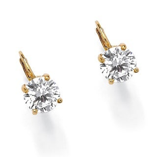 PalmBeach CZ 14k Yellow Gold Overlay Round Cubic Zirconia Dangle Earrings Classic CZ