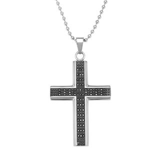 Stainless Steel 1/2ct TDW Black Diamond Cross Pendant Necklace