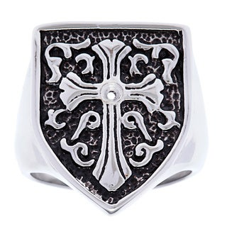 Stainless Steel Black Diamond Accent Shield Ring