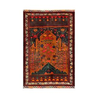 Herat Oriental Semi-antique Afghan Hand-knotted Tribal Balouchi Gold/ Ivory Wool Rug (2'11 x 4'6)