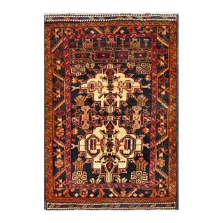 Herat Oriental Semi-antique Afghan Hand-knotted Tribal Balouchi Charcoal/ Beige Wool Rug (4' x 4'4)