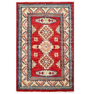 Herat Oriental Afghan Hand-knotted Kazak Red/ Ivory Wool Rug (2' x 3'1)