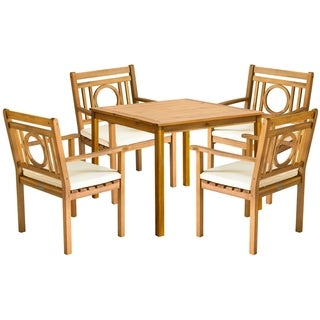 Safavieh Outdoor Living Montclair Brown Acacia Wood 5-piece Beige Cushion Dining Set