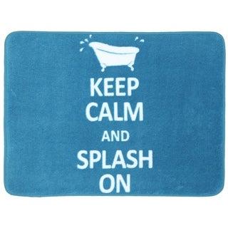 Memory Foam Keep Calm Splash On Turquoise 17 x 24 Bath Mat