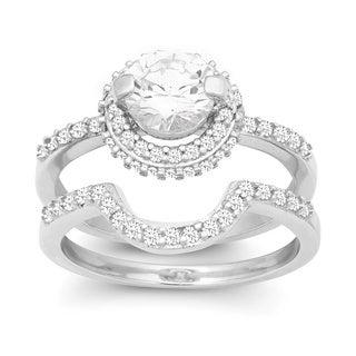 La Preciosa Sterling Silver Double Band Cubic Zirconia Bridal Set
