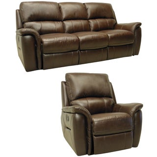 Porter Brown Italian Leather Reclining Sofa and Glider/Recliner Chair