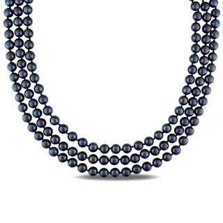 Miadora Sterling Silver Black Cultured Freshwater Pearl 3-strand Necklace (6-7 mm)