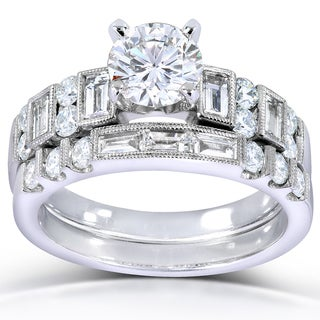 Annello 18k White Gold 2 1/5ct TDW Certified Diamond Bridal Set (F, SI2) with Bonus Item