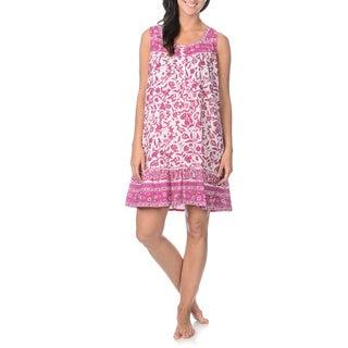 La Cera Women's Flower Print Sweetheart Neckline Nightgown