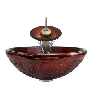 Polaris Sinks Brushed Nickel/ Red Lava Glass Vessel Sink and Faucet