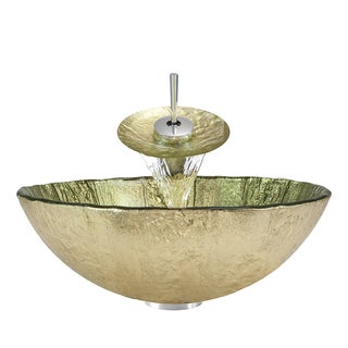 Polaris Sinks Chrome/ Gold Foil Glass Vessel Sink and Faucet