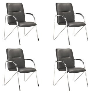 CorLiving LOF-909-O Black Leatherette Conference Chair (Set of 4)