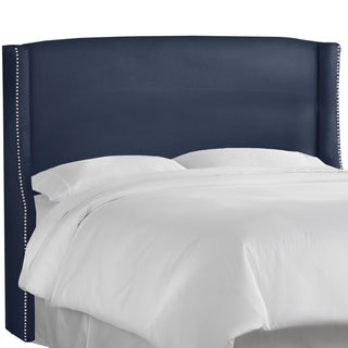 Made to Order Nail Button Wingback Headboard in Linen Navy