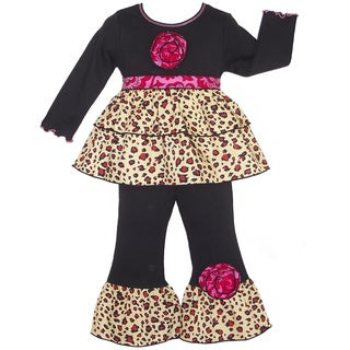 Ann Loren Black Jersey Baby Doll Style Tunic with Leopard Ruffles and Coordinating Long Pants