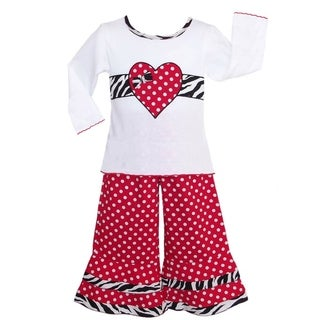 AnnLoren Red Polka-dot and Zebra Heart Outfit