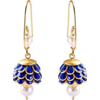Sitara Goldtone Lapis Blue Floral Cluster Dangle Earrings (India)
