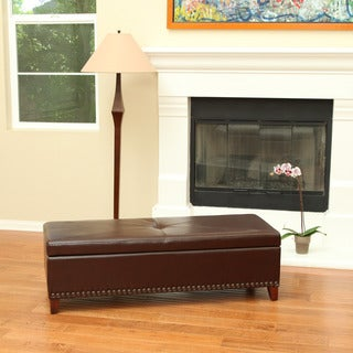 Christopher Knight Home Avril Leather Storage Ottoman