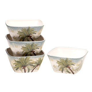 Hand-painted Key West 5.5-inch Ceramic Ice Cream Bowls (Set of 4)