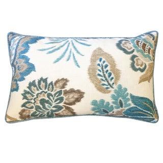 Jiti Summer Teal Floral 12x20-inch Pillow