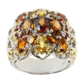 Michael Valitutti Two-tone Yellow Sapphire, Chocolate Zircon, Madiera Citrine, Brown Tourmaline and Orange Sapphire Ring