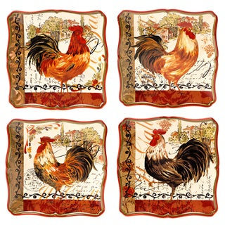 Certified International Assorted Design Tuscan Rooster 8.5-inch Salad/ Dessert Plate (Set of 4)