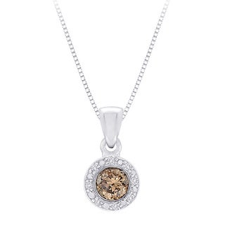10k White Gold 2/5ct Brown and White Diamond Halo Pendant Necklace (G-H, I2-I3)