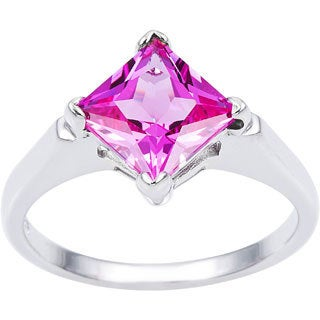 Oravo Sterling Silver Princess-cut Gemstone Solitaire Rhodium Finished Ring