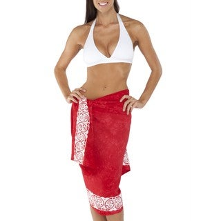 Handmade Women's Red Celtic Tribal Border Sarong (Indonesia)