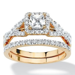PalmBeach 18k Yellow Gold Over Silver Princess Cubic Zirconia 2-piece Ring Set Classic CZ
