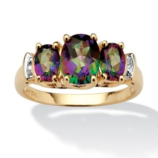PalmBeach 10k Yellow Gold Multicolored Fire Topaz and Diamond Accent Ring