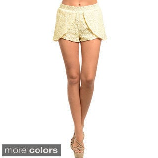 Shop The Trends Women's Floral Lace Tulip-layer Shorts