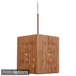 Lighthouse 1-light Bible Cube Bamboo Mini Pendant