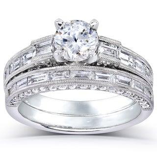 Annello 18k White Gold 2 1/3ct TDW Certified Diamond Bridal Set