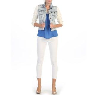 Hadari Juniors Light Blue and Creme Denim Jacket