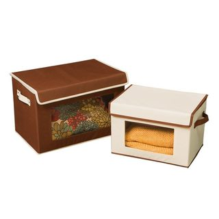 Seville Classics Canvas Storage Box Set with Window (2 Pack) - Brown/Cream