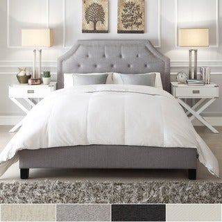 INSPIRE Q Grace Grey Linen Button Tufted Arched Bridge Upholstered Bed