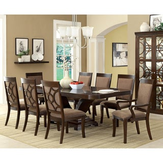 Furniture of America Woodburly 9-Piece Dining Set with Leaf