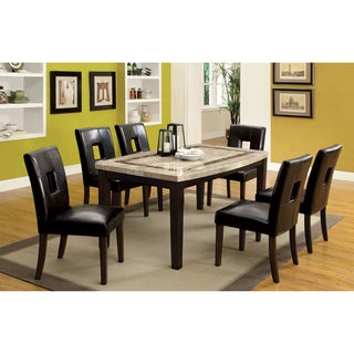 Furniture of America Charisole 7-Piece Genuine Marble Oval Dining Table Set