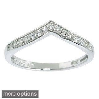 Eternally Haute Sterling Silver Cubic Zirconia Chevron Midi Knuckle Ring