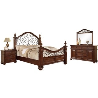 Furniture of America Barath 4-piece Antique Dark Oak Bedroom Set