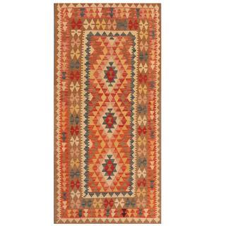 Herat Oriental Afghan Hand-woven Tribal Kilim Red/ Tan Wool Rug (3'2 x 6'8)