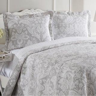 Laura Ashley Connemara Neutral Reversible 3-piece Cotton Quilt Set