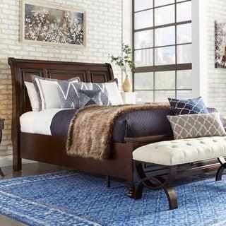 Elliot Distressed Warm Brown 2-drawer Wood Sleigh Bed