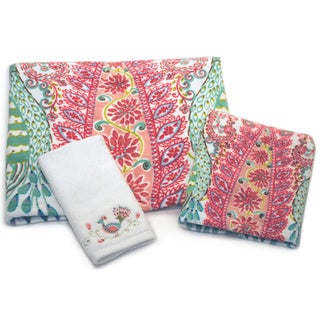 Dena Home Peacock Collection Printed 3-piece Towel Set