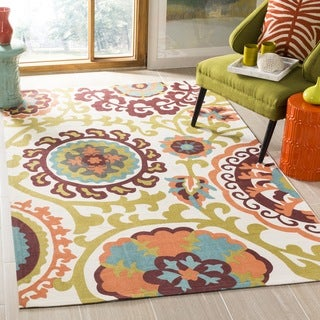 Safavieh Handmade Cedar Brook Ivory/ Orange Cotton Rug (8' x 11')