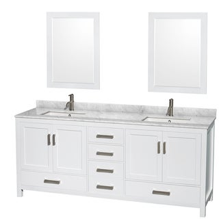 Wyndham Collection Sheffield 80-inch Double White Vanity