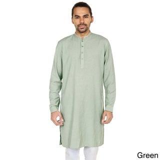 In-Sattva Anita Dongre Men's Printed Mandarin Collar Long Pullover Kurta Tunic (India)