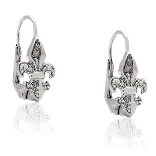 Finesque Sterling Silver Diamond Accent Fleur De Lis Leverback Earrings (I-J, I2-I3)