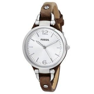 Fossil Women's ES3060 Georgia Three Hand Slim Leather Watch