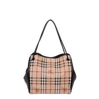 Burberry Small Haymarket Beige/ Black Check Tote Bag